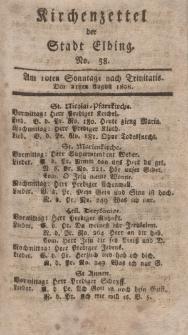 Kirchenzettel der Stadt Elbing, Nr. 38, 21 August 1808
