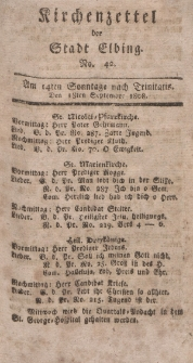 Kirchenzettel der Stadt Elbing, Nr. 42, 18 September 1808