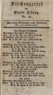 Kirchenzettel der Stadt Elbing, Nr. 45, 9 Oktober 1808