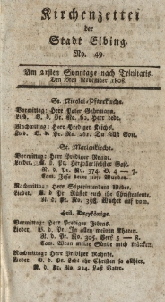 Kirchenzettel der Stadt Elbing, Nr. 49, 6 November 1808