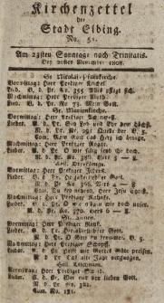 Kirchenzettel der Stadt Elbing, Nr. 51, 20 November 1808