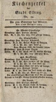 Kirchenzettel der Stadt Elbing, Nr. 54, 11 Dezember 1808