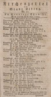 Kirchenzettel der Stadt Elbing, Nr. 10, 29 Februar 1824
