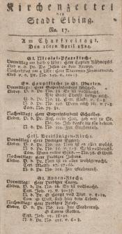 Kirchenzettel der Stadt Elbing, Nr. 17, 16 April 1824