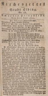 Kirchenzettel der Stadt Elbing, Nr. 28, 6 Juni 1824