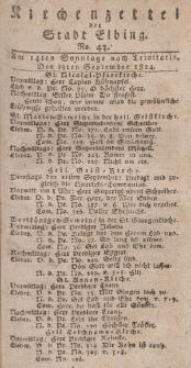 Kirchenzettel der Stadt Elbing, Nr. 43, 19 September 1824