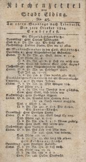 Kirchenzettel der Stadt Elbing, Nr. 45, 3 Oktober 1824
