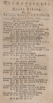 Kirchenzettel der Stadt Elbing, Nr. 47, 17 Oktober 1824