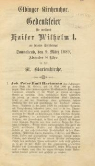 Elbinger Kirchenchor Gedenkfeier für weiland Kaiser Wilhelm I