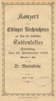 Konzert des Elbinger Kirchenchores zur Feier des kirchlichen Todtenfestes
