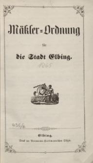 Mäkler-Ordnung für die Stadt Elbing