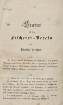 Statut für den Fischerei-Verein der Provinz Preußen