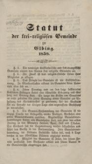 Statut der frei-religiösen Gemeinde zu Elbing