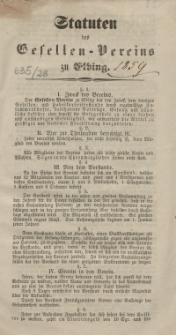 Statuten des Gesellenvereins zu Elbing