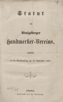 Statut des Königsberger Handwerker-Vereins