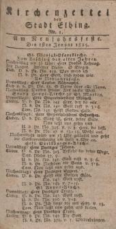 Kirchenzettel der Stadt Elbing, Nr. 1, 1 Januar 1825
