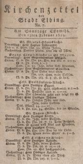 Kirchenzettel der Stadt Elbing, Nr. 7, 13 Februar 1825