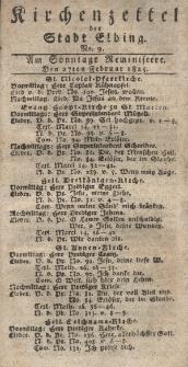 Kirchenzettel der Stadt Elbing, Nr. 9, 27 Februar 1825