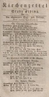 Kirchenzettel der Stadt Elbing, Nr. 19, 27 April 1825