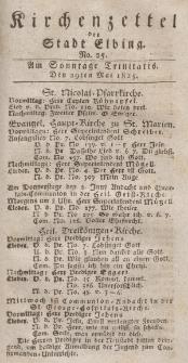 Kirchenzettel der Stadt Elbing, Nr. 25, 29 Mai 1825