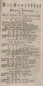 Kirchenzettel der Stadt Elbing, Nr. 28, 19 Juni 1825