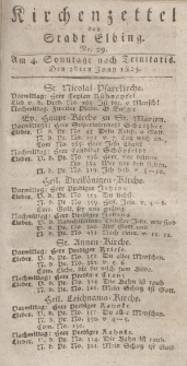 Kirchenzettel der Stadt Elbing, Nr. 29, 26 Juni 1825