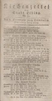 Kirchenzettel der Stadt Elbing, Nr. 31, 10 Juli 1825