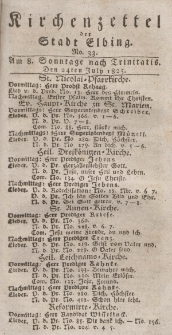 Kirchenzettel der Stadt Elbing, Nr. 33, 24 Juli 1825