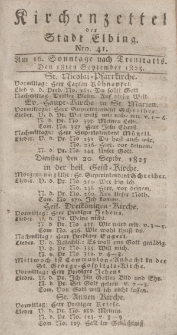 Kirchenzettel der Stadt Elbing, Nr. 41, 18 September 1825