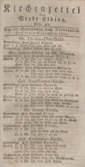 Kirchenzettel der Stadt Elbing, Nr. 42, 25 September 1825