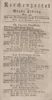Kirchenzettel der Stadt Elbing, Nr. 44, 9 Oktober 1825