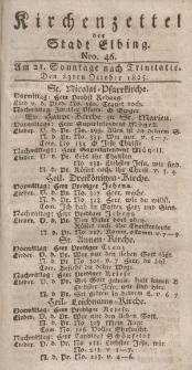 Kirchenzettel der Stadt Elbing, Nr. 46, 23 Oktober 1825