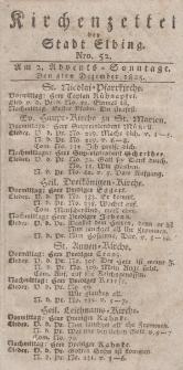 Kirchenzettel der Stadt Elbing, Nr. 52, 4 Dezember 1825