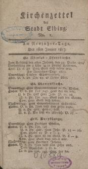 Kirchenzettel der Stadt Elbing, Nr. 1, 1 Januar 1817
