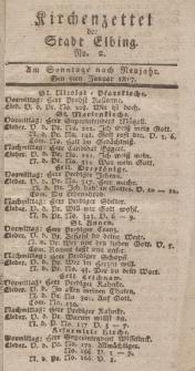 Kirchenzettel der Stadt Elbing, Nr. 2, 5 Januar 1817