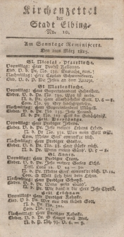 Kirchenzettel der Stadt Elbing, Nr. 10, 2 März 1817