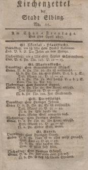 Kirchenzettel der Stadt Elbing, Nr. 15, 4 April 1817