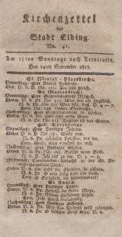 Kirchenzettel der Stadt Elbing, Nr. 41, 14 September 1817