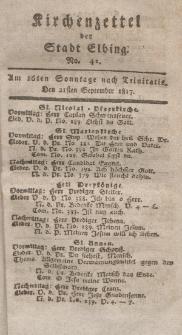 Kirchenzettel der Stadt Elbing, Nr. 42, 21 September 1817