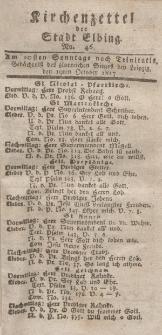Kirchenzettel der Stadt Elbing, Nr. 46, 19 Oktober 1817