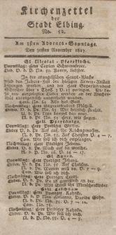 Kirchenzettel der Stadt Elbing, Nr. 52, 30 November 1817