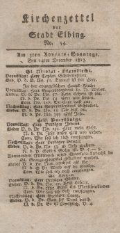 Kirchenzettel der Stadt Elbing, Nr. 54, 14 Dezember 1817