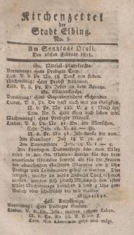 Kirchenzettel der Stadt Elbing, Nr. 9, 26 Februar 1815
