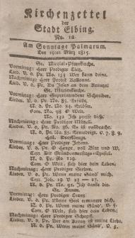 Kirchenzettel der Stadt Elbing, Nr. 12, 19 März 1815