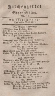 Kirchenzettel der Stadt Elbing, Nr. 13, 24 März 1815