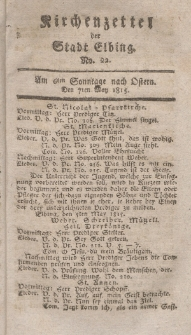 Kirchenzettel der Stadt Elbing, Nr. 22, 7 Mai 1815