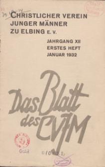Das Blatt des CVJM, H. 1, Jahrgang XII