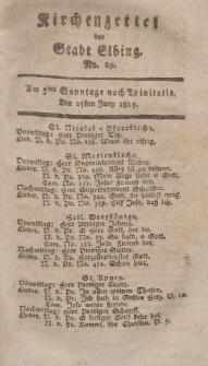 Kirchenzettel der Stadt Elbing, Nr. 29, 25 Juni 1815