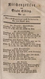 Kirchenzettel der Stadt Elbing, Nr. 35, 6 August 1815