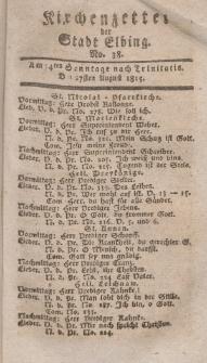Kirchenzettel der Stadt Elbing, Nr. 38, 27 August 1815